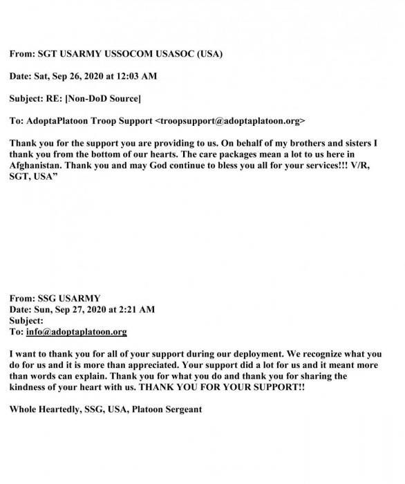 Comments received from Troops deployed to the Middle East when they first requested support from AdoptaPlatoon-3