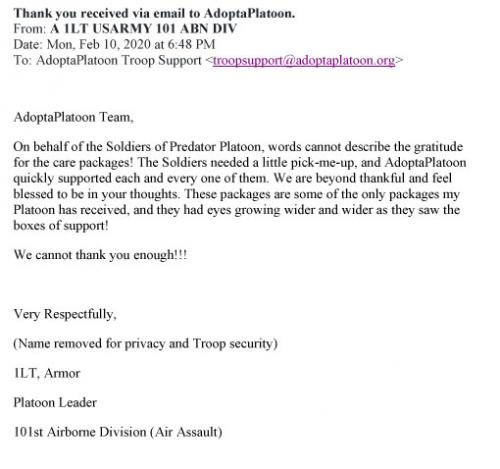 Thank you received via email to AdoptaPlatoon